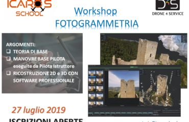 Workshop Professionale Fotogrammetria da DRONE 27 luglio 2019